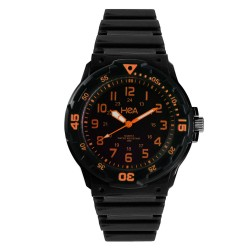 Hea U&Mi Men's Black/Orange Rubber Watch Kha2221-1108 image here