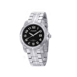 MOA CENTRINO PAIR MEN'S SILVER / BLACK ANALOG STAINLESS STEEL WATCH KM586-1102 image here