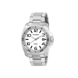MOA NRG STENCIL COLLECTION MEN'S SILVER / WHITE ANALOG STAINLESS STEEL WATCH KM608-1101  image here