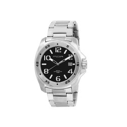 MOA NRG STENCIL COLLECTION MEN'S SILVER / BLACK WITH WHITE NUMBER ANALOG STAINLESS STEEL WATCH KM608-1103   image here