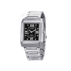 MOA BEAU MEN'S SILVER / BLACK ANALOG STAINLESS STEEL WATCH KM684-1102   image here