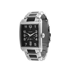 MOA MAESTRO TESSERO MEN'S SILVER / BLACK ANALOG STAINLESS STEEL WATCH KM702-1101   image here
