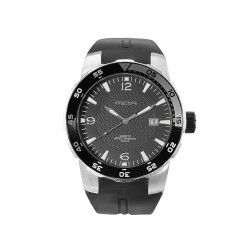 MOA ICONOHEDRON MEN'S BLACK / SILVER ANALOG RUBBER WATCH KM681-1101   image here