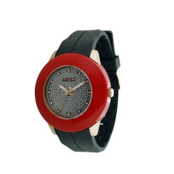 MOA MAZARIN WOMEN'S BLACK / SILVER ANALOG RUBBER WATCH KM665-1001   image here