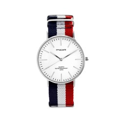 MOA VERSAILLES CLASSIC UNISEX BLUE/WHITE/RED NYLON STRAP WATCH KM2257-3601  image here