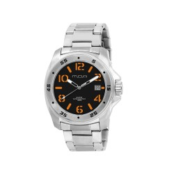 MOA NRG STENCIL COLLECTION MEN'S SILVER / BLACK WITH ORANGE NUMBER ANALOG STAINLESS STEEL WATCH KM608-1104  image here