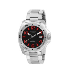MOA NRG STENCIL COLLECTION MEN'S SILVER / BLACK WITH RED NUMBER ANALOG STAINLESS STEEL WATCH KM608-1102  image here