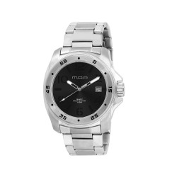 MOA NRG STENCIL COLLECTION MEN'S SILVER / BLACK WITH BLACK NUMBER ANALOG STAINLESS STEEL WATCH KM608-1102  image here