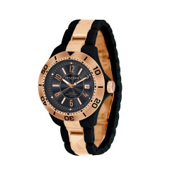 M.O.A MEN'S PROVOQUE ANALOG PLASTIC BLACK / ROSE GOLD KM709-1101 WATCH image here
