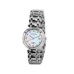 MOA AMBERLINE WOMEN'S SILVER / WHITE MOTHER-OF-PEARL ANALOG STAINLESS STEEL WATCH KM877-2108 image here