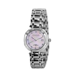 MOA AMBERLINE WOMEN'S SILVER / PINK MOTHER-OF-PEARL ANALOG STAINLESS STEEL WATCH KM877-2909 image here