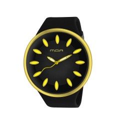 MOA FRUITY UNISEX BLACK / GOLD ANALOG RUBBER STRAP WATCH KM890-1011 image here