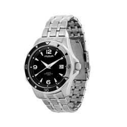 MOA DELTA MEN'S SILVER / BLACK ANALOG STAINLESS STEEL WATCH KM891-1102 image here