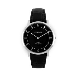 MOA FRACTAL ULTRA THIN PURE EDITION UNISEX BLACK / BLACK LEATHER ANALOG WATCH KM903-1101 image here