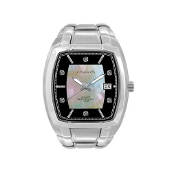 MOA APOLLINAIRE PAIR MEN'S SILVER / BLACK - MOTHER-OF-PEARL ANALOG STAINLESS STEEL WATCH KM908-1102 image here