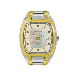 MOA APOLLINAIRE PAIR MEN'S TWO-TONE / MOTHER-OF-PEARL ANALOG STAINLESS STEEL WATCH KM908-1302 image here