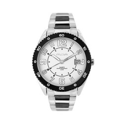 MOA CHEQUERINO MEN'S SILVER / WHITE ANALOG STAINLESS STEEL WATCH KM910-1101 image here