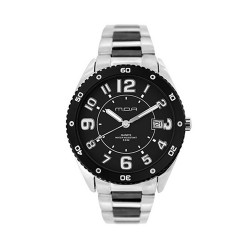 MOA CHEQUERINO MEN'S SILVER / BLACK ANALOG STAINLESS STEEL WATCH KM910-1102 image here
