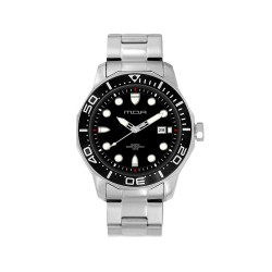 MOA TECHNIKA-EDGE (LARGE) MEN'S SILVER / BLACK ANALOG STAINLESS STEEL WATCH KM916-1101 image here