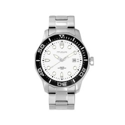 MOA TECHNIKA-EDGE LARGE MEN'S SILVER / WHITE ANALOG STAINLESS STEEL WATCH KM916-1102 image here