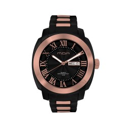 M.O.A MEN'S ESCALOP ANALOG STAINLESS STEEL BLACK / ROSE GOLD KM1084-1412 WATCH image here