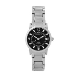 M.O.A LADIES' VERSA VINTAGE - CHEQUER SERIES PAIR ANALOG STAINLESS STEEL SILVER / BLACK KM1141-2102 WATCH image here