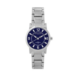 M.O.A LADIES' VERSA VINTAGE - CHEQUER SERIES PAIR ANALOG STAINLESS STEEL SILVER / NAVY BLUE KM1141-2103 WATCH image here