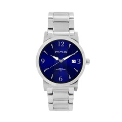 M.O.A MEN'S VERSA VINTAGE - BAMBOO SERIES PAIR ANALOG STAINLESS STEEL SILVER / NAVY BLUE KM1144-1103 WATCH image here
