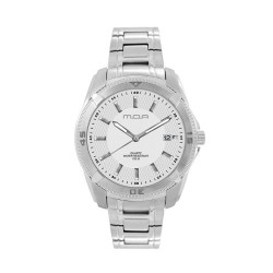 M.O.A MEN'S VORTEX - DEAMANTE SERIES ANALOG STAINLESS STEEL SILVER / WHITE KM1162-1101 WATCH image here