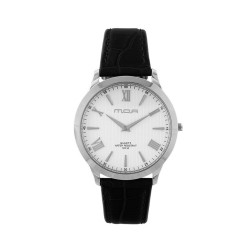 M.O.A UNISEX LYRIA ANALOG LEATHER BLACK/SILVER/WHITE KM1458-1101 WATCH image here
