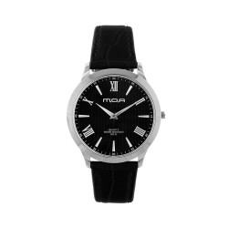 M.O.A UNISEX LYRIA ANALOG LEATHER BLACK/SILVER/BLACK KM1458-1102 WATCH image here
