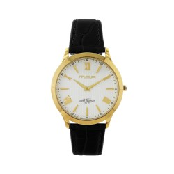 M.O.A UNISEX LYRIA ANALOG LEATHER BLACK/GOLD/WHITE KM1458-1201 WATCH image here