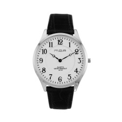 M.O.A UNISEX SONNET ANALOG LEATHER BLACK/SILVER/WHITE KM1459-1101 WATCH image here