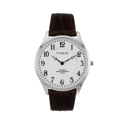 M.O.A UNISEX SONNET ANALOG LEATHER BROWN/SILVER/WHITE KM1459-1102 WATCH image here