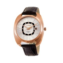 M.O.A MEN'S QUASAR ANALOG LEATHER BROWN/ROSE GOLD/SILVER KM1461-1401 WATCH image here
