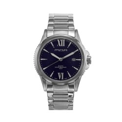 M.O.A MEN'S CIRCO LATTICE ANALOG STAINLESS STEEL SILVER / NAVY BLUE KM1465-1103 WATCH image here