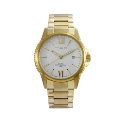 M.O.A MEN'S CIRCO LATTICE ANALOG STAINLESS STEEL GOLD / WHITE KM1465-1401 WATCH image here