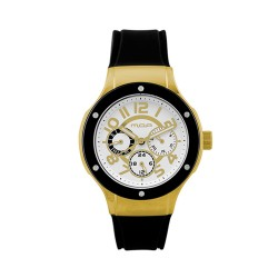 M.O.A LADIES' AMARCELLÍNE ANALOG RUBBER BLACK/GOLD/WHITE KM1467-1502 WATCH image here