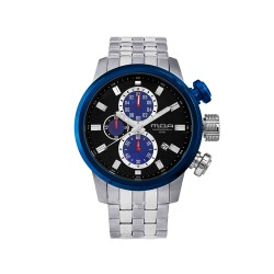 M.O.A MEN'S FUSELAGE CHRONOGRAPH STAINLESS STEEL SILVER/BLUE/BLACK KM1542-1403 WATCH image here