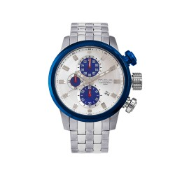 M.O.A MEN'S FUSELAGE CHRONOGRAPH STAINLESS STEEL SILVER / BLUE KM1542-1404 WATCH image here