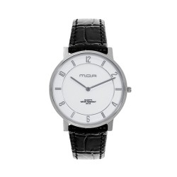 M.O.A MEN'S FRACTAL ULTRA THIN PURE ANALOG LEATHER BLACK / WHITE KM1793-1101 WATCH image here