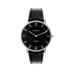 M.O.A UNISEX FRACTAL ULTRA THIN PURE ANALOG LEATHER BLACK KM1793-1102 WATCH image here