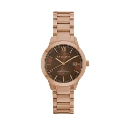 M.O.A UNISEX NOUVELLI  ANALOG STAINLESS STEEL ROSE GOLD / BROWN KM1899-5407 WATCH image here