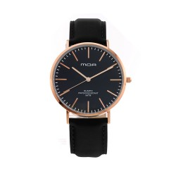 M.O.A MEN'S VERSAILLES CLASSIC ANALOG LEATHER BLACK / ROSE GOLD KM1988-5109 WATCH image here