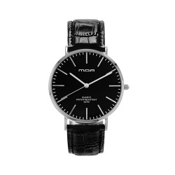 M.O.A UNISEX VERSAILLES CLASSIC ANALOG LEATHER BLACK / SILVER KM2255-3102 WATCH image here