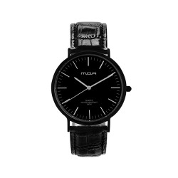 M.O.A UNISEX VERSAILLES CLASSIC ANALOG LEATHER BLACK KM2255-6102 WATCH image here