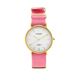M.O.A UNISEX VERSAILLES CLASSIC ANALOG NYLON PINK / GOLD KM2259-4704 WATCH image here