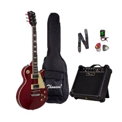Thomson Les Paul w/ heavy duty amp, tuner and Complete accessories Package Electric Guitar (Maroon) image here