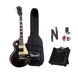 Thomson Les Paul w/ heavy duty amp, tuner and Complete accessories Package Electric Guitar (Black) image here