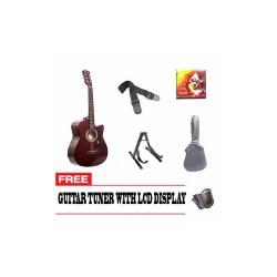 ACOUSTIC GUITAR PACKAGE WITH FREE GUITAR TUNER (MAROON)   image here